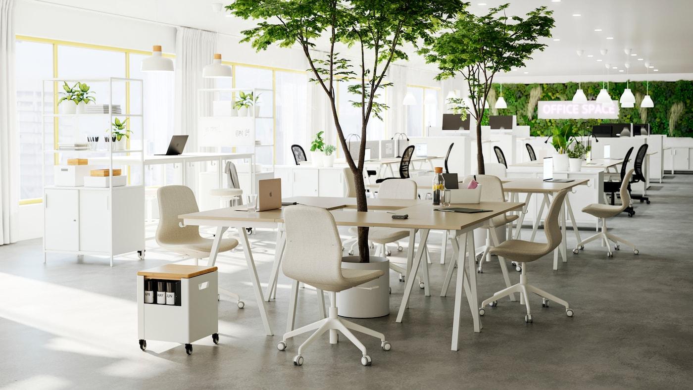 Una oficina abierta con varios grupos de mesas y sillas beige/blanco montadas como zonas de reunión, con plantas por el medio.