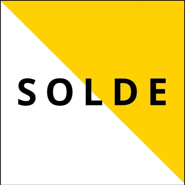 Une bannière blanc et jaune où il est écrit « SALE » en texte noir.