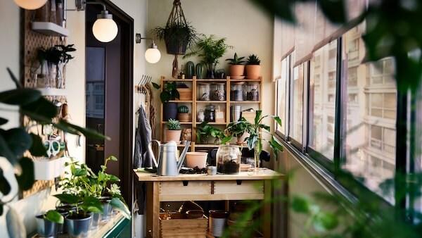 Une desserte en bouleau, une étagère en bambou, une armoire et du rangement mural avec des plantes et des articles de jardinage tout autour.