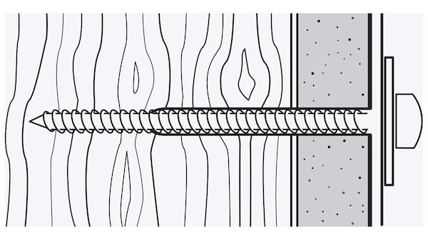 Une illustration d'une vis qui a été vissée à travers une couche de matériau comme un panneau de plâtre puis dans le bois.
