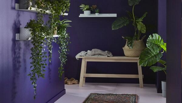 Une pièce avec des murs violets, un banc en bois et des tablettes blanches sur lesquelles sont posées des plantes en pot artificielles FEJKA.
