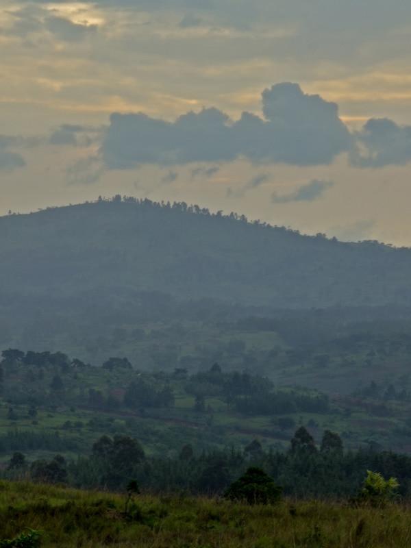 Unha paisaxe rural con lombas verdes cubertas de campos e árbores. O ceo está nubrado e hai nubes baixas sobre as lombas do horizonte.