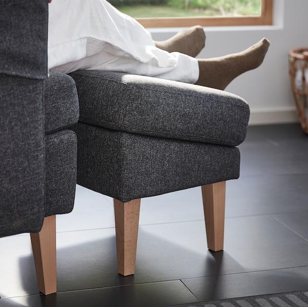 Unhas pernas e pés descansando sobre o repousapés OMTÄNKSAM. Grazas á súa inclinación, non afecta á circulación sanguínea.