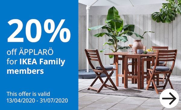 Upto 20% off APPLARO outdoor furniture for IKEA Family members