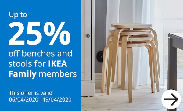 Upto 25% off Benches & Stools for IKEA Family members