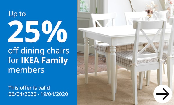 Upto 25% off Dining Chairs for IKEA Family members