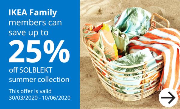upto 25% off SOLBLEKT for IKEA Family members