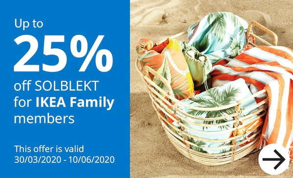 Upto 25% off SOLBLEKT summer collection for IKEA Family members