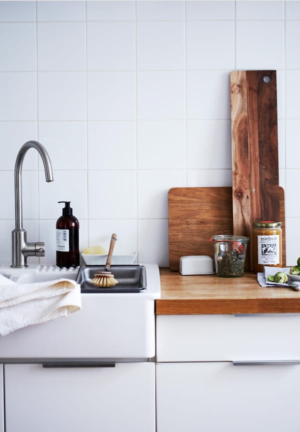 Use drawers for kitchen storage.