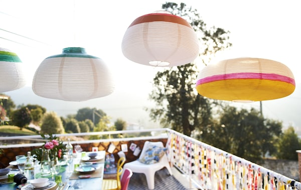 Use lanterns and fabric to create a party atmosphere