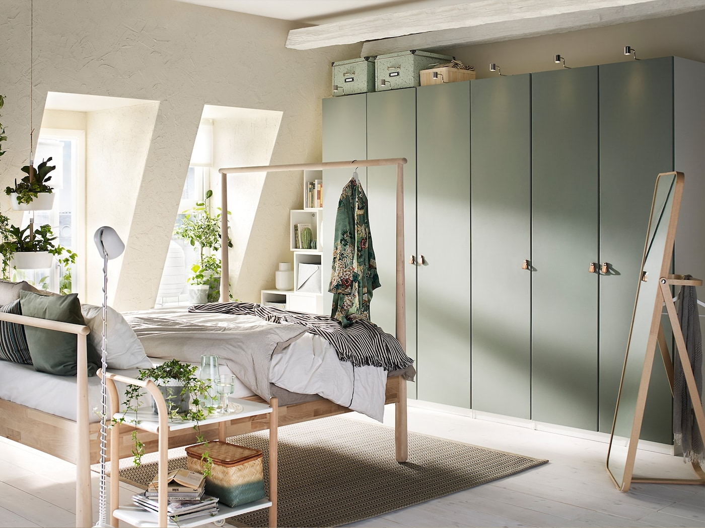 Use natural light and muted tones for a calming bedroom to relax the mind
