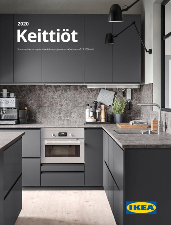 Uuden Keittiöt-kuvaston kannessa on tyylikkään tummanpuhuva keittiö.
