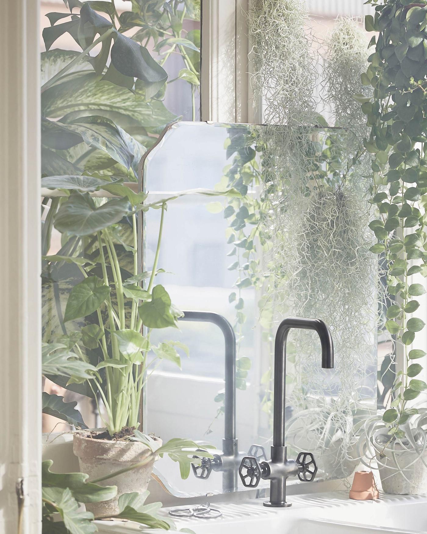 Uusi IKEA GAMLESJÖN -hana on ulkonäöltään teollinen ja valmistettu mustasta harjatusta metallista. GAMLESJÖN-hana tuo tyyliä keittiöön.