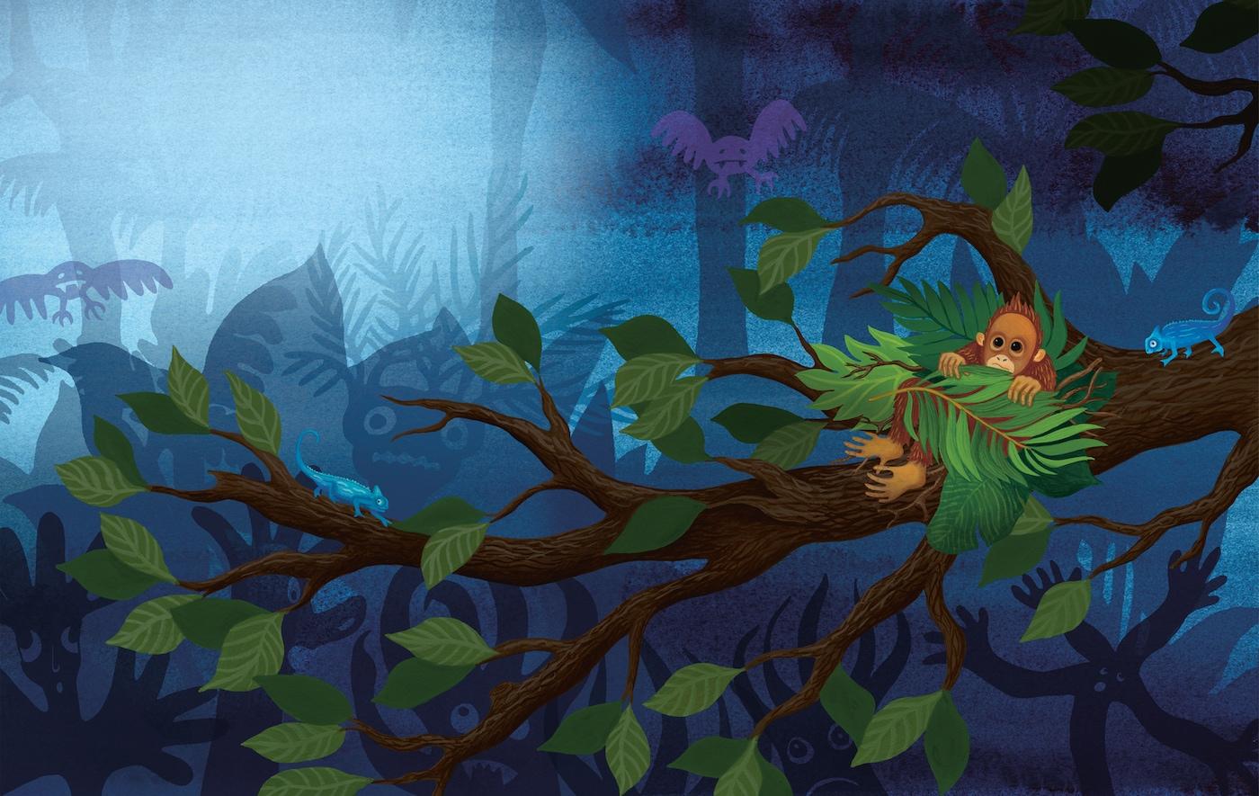 Värikästä lastenkirjan kuvitusta orankinpoikasesta, joka piileskelee puussa pimeydeltä.