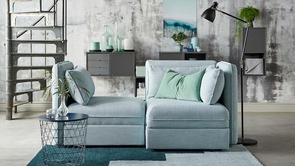 VALLENTUNA dark gray sofa set.