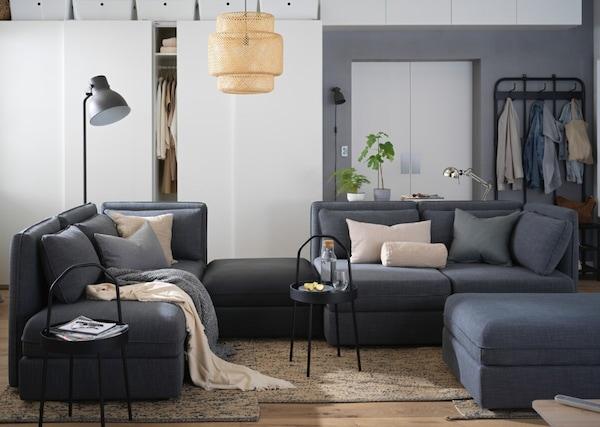 VALLENTUNA sofa with different modules in dark grey.