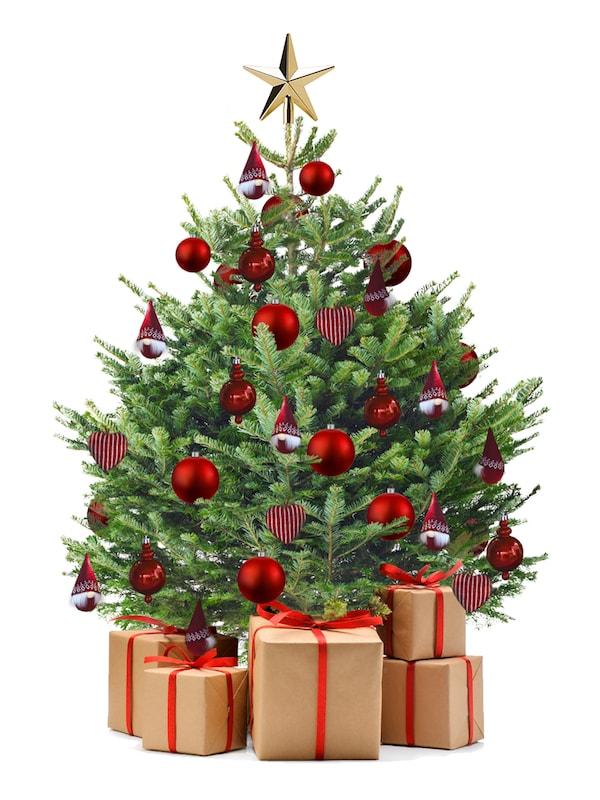 Vánoční stromek s ozdobami.