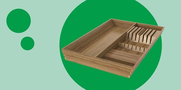 VARIERA range-couteaux et ustensiles, bambou 15x20 (37x50 cm)