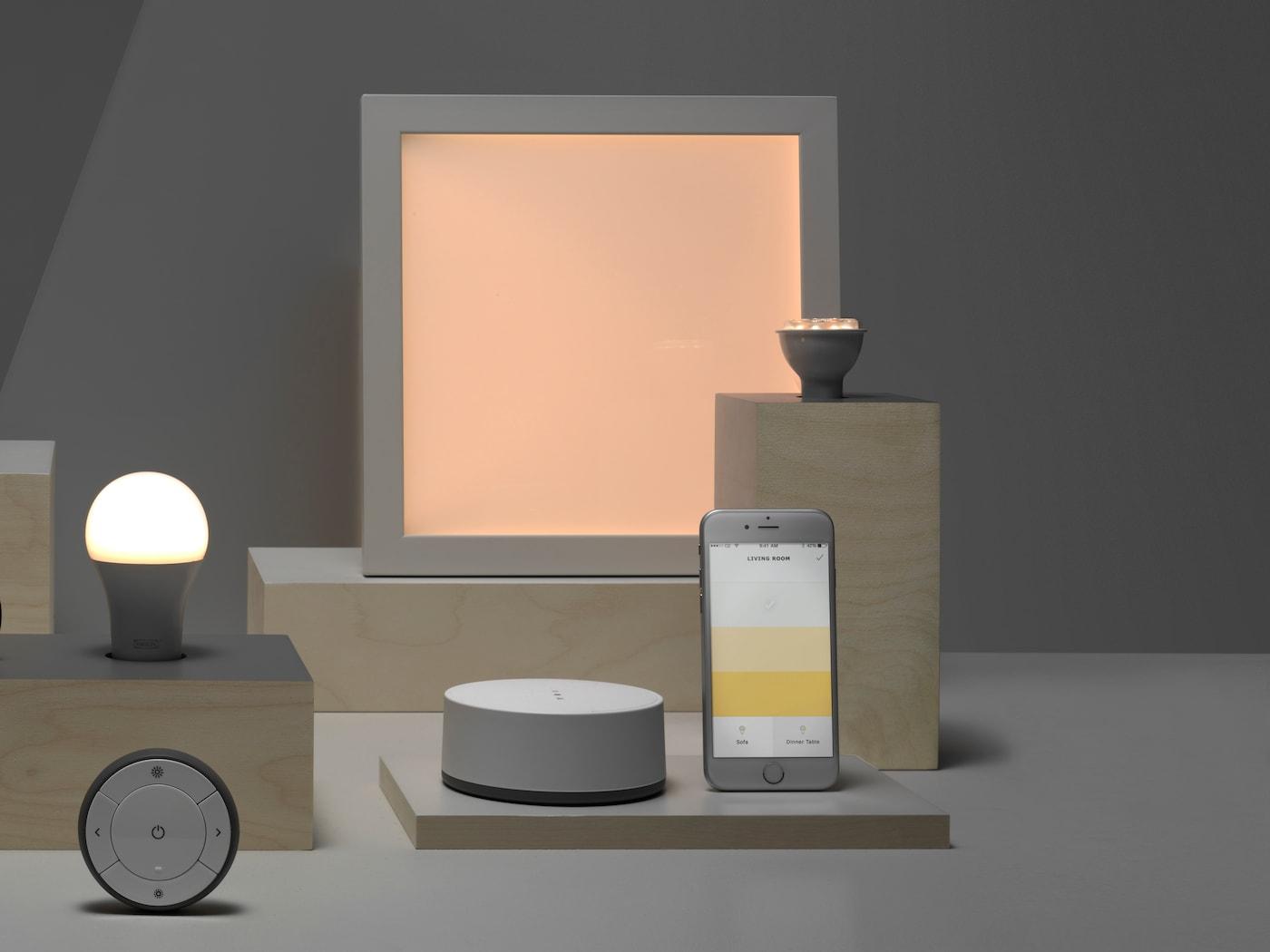 Vårt sortiment av smart belysning.