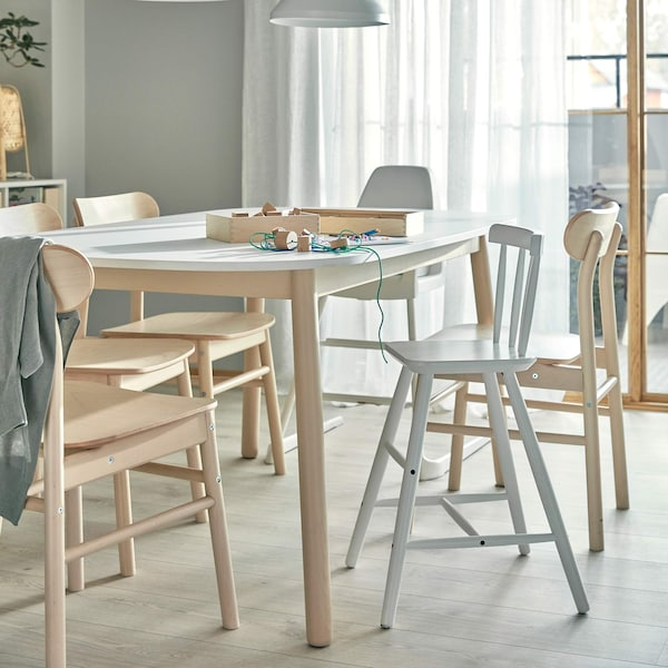 VEDBO and RONNINGE dining table and chairs with AGAM junior chair