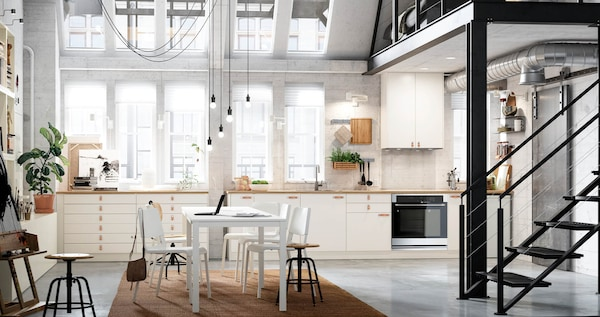 VEDDINGE kitchen in a sleek and smooth white color.