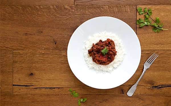 Vegan chilli no carne served with white rise