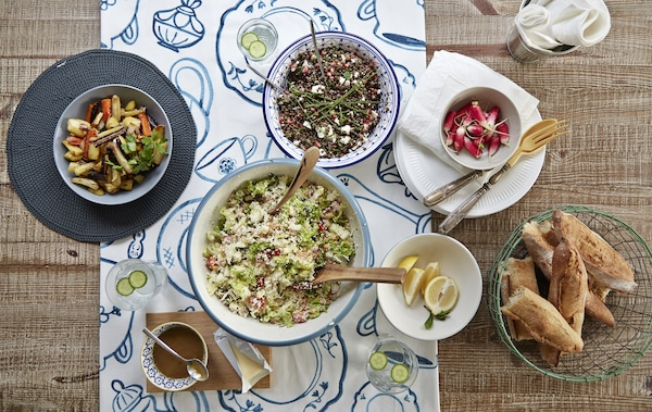 Vegetarian dishes spread out on a table