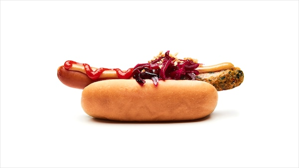 Vegetarische hot dog