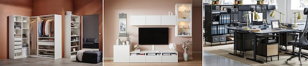 Verschiedene IKEA Aufbewahrungslösungen für Wohnraum, Schlafzimmer und Arbeitsplatz