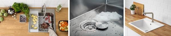 Verschiedene IKEA Spülbecken aus Edelstahl oder Quarzkomposit und Mischbatterien für die Küche, Abfluss einer Spüle als Detail