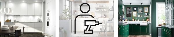 Verschiedene Küchen und IKEA Services