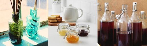 Verschiedene Varianten von Produkte, welche aus recyceltem Glas entstehen