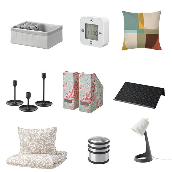 Viele Produkte wie Kissen, Wecker, Bettwäsche oder Kerzenständer unter 10 Euro