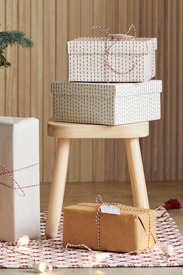 VINTER 2019 Pudełko na prezent, wzór, 20x20x10 cm