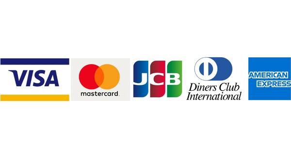 Visa, Mastercard, JCB, Diners Club International, American Express.
