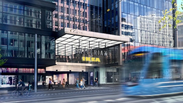 Visualisering på ingången till gallerian där det sitter en IKEA skylt under en sjylt där det står Gallerian.