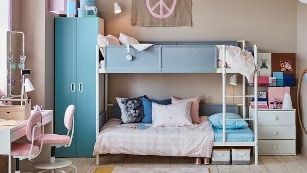 VITVAL Bunk bed frame, white, light grey, 90x200 cm