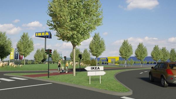 Vizualizace nového obchodního domu IKEA. V pozadí nový obchodní dům, před ním park se zelení v němž se procházejí lidé.