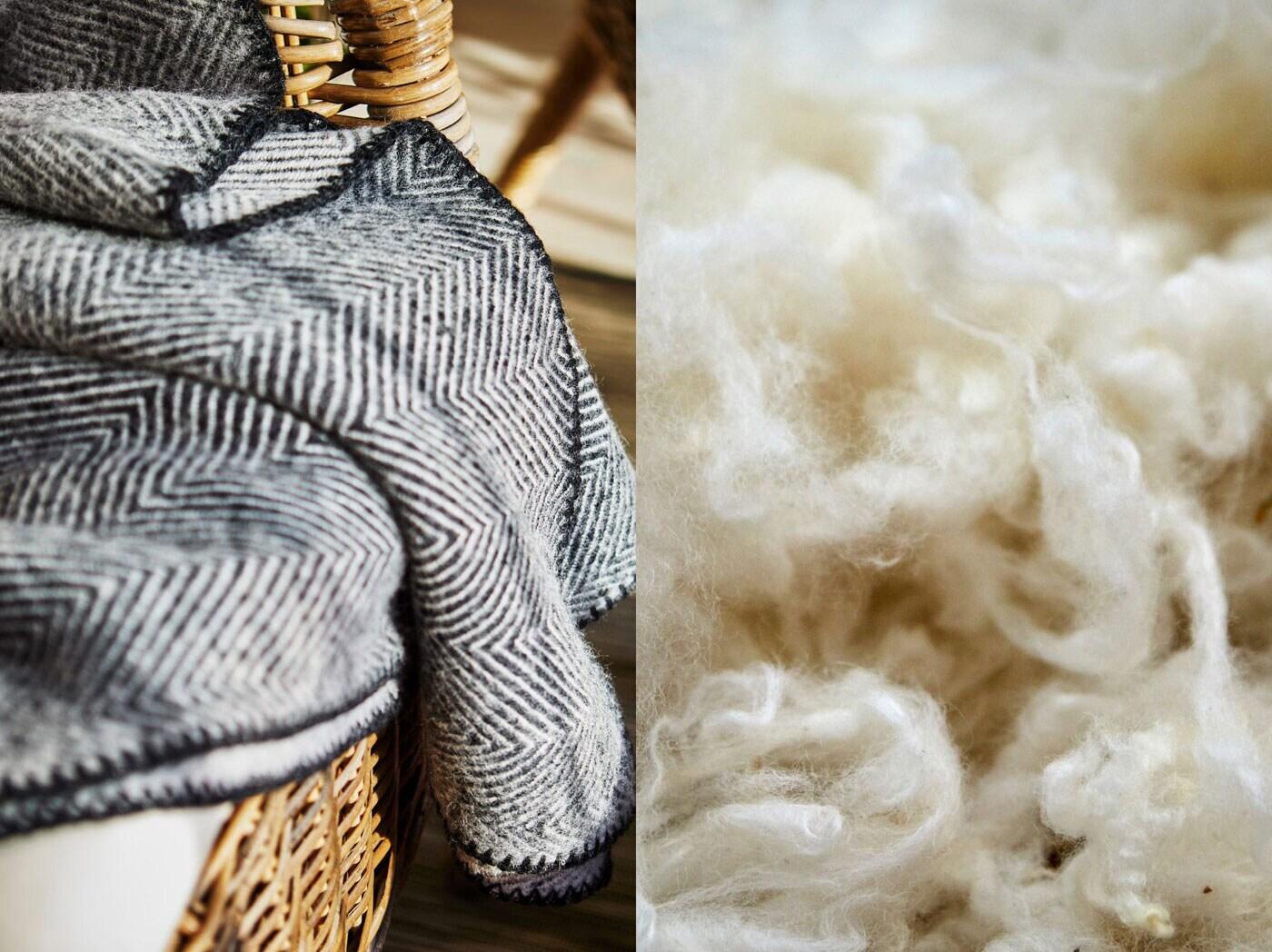 Vlněná deka přehozená přes proutěné křeslo a detail surové vlny.