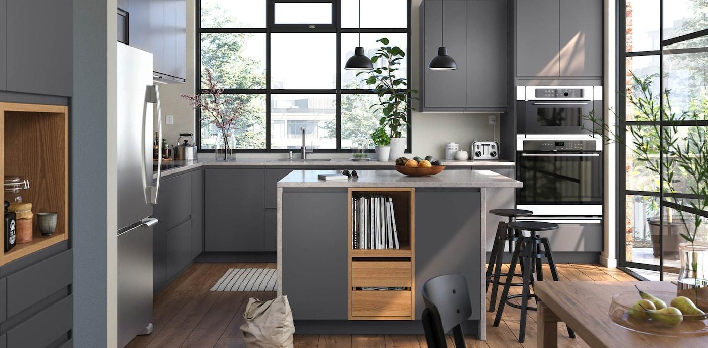 Modern, Dark Gray Kitchen Cabinets   VOXTORP Series   IKEA