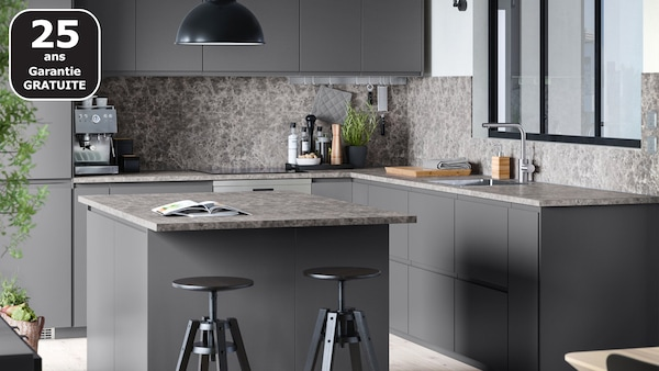 VOXTORP gris mat cuisine IKEA