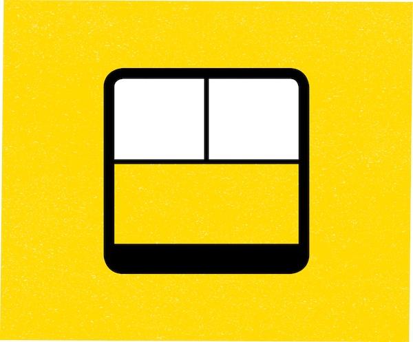 Výkres dveří na žlutém podkladu.
