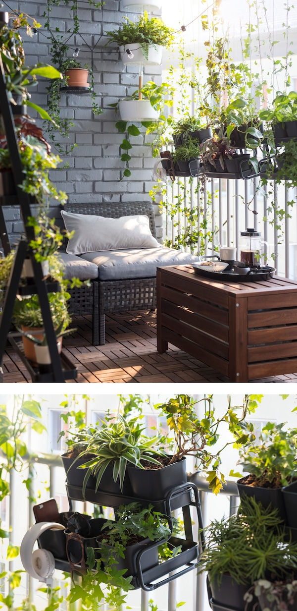 Want a green balcony without drilling holes in your walls? Hang a flower box and plant pot from a balcony rail for a decorative garden, even in a small space. Try IKEA SOCKER plant pot with holder!