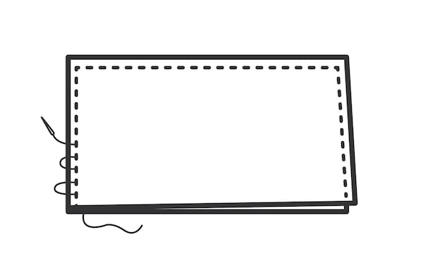 Want an upholstered headboard how to? IKEA can help with this step-by-step guide to makeover a MALM bed frame with foam and a velvet curtain. This illustrated step shows a sleeve-type cover being made by sewing three sides of the curtain.