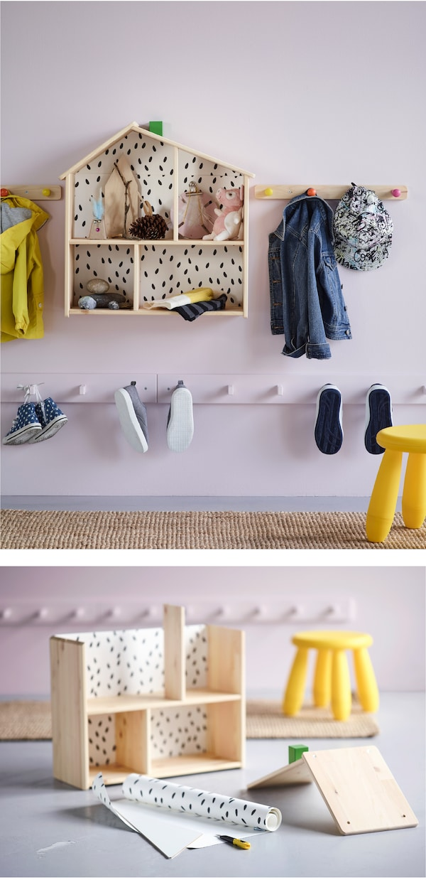 Want some smart kids' storage ideas for your hallway? IKEA offers lots of storage furniture! Why not let the kids display things they find outside inside a doll's house? The IKEA FLISAT doll's house is great for displaying branches and stones!