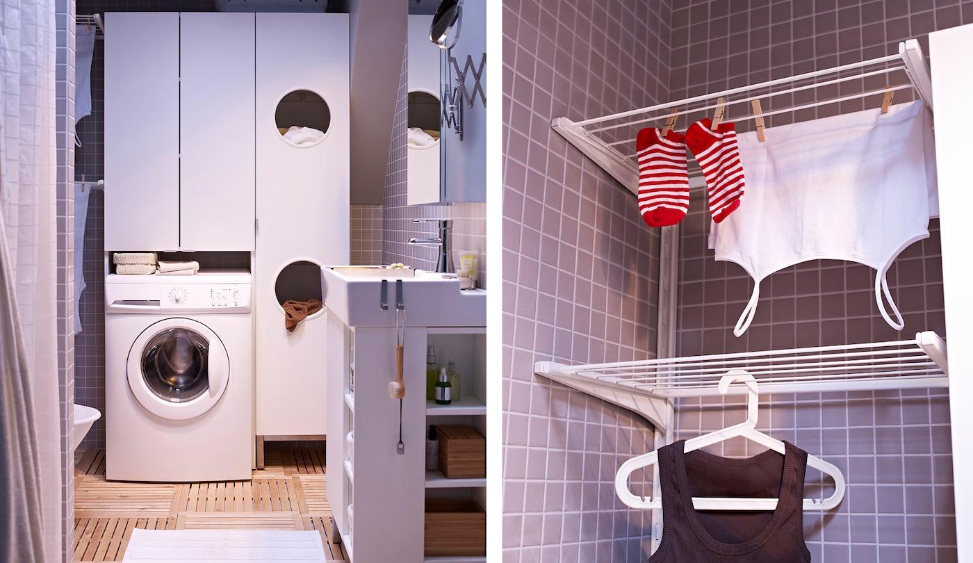Wasmachine met daarnaast kasten voor extra opbergruimte.