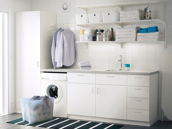 Georganiseerd Wasruimte In Wit Ikea