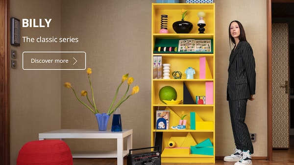 We celebrate the BILLY bookcase's 40th birthday with a new bright yellow colour.