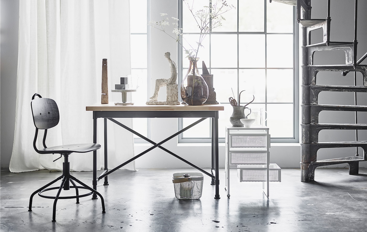 We think using combining industrial furniture with textiles and flowing shapes is a big upcoming trend.