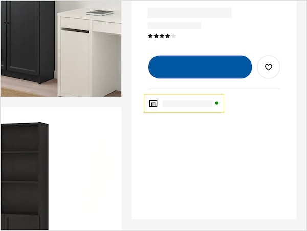 what means each icon about availability in the product page